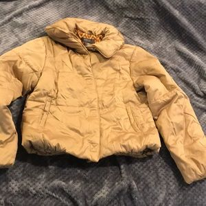 NWOT Gold microfiber puffer coat Sz M